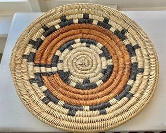 "$50  Coil woven Southwest shallow bowl  11"" diam."