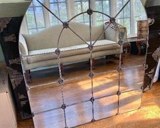 """$395 - Arched mirror with metal accents - 48"""" H x 40"""" W."""