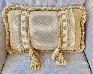 "$25 - Tassel pillow - 20"" W x 11.5"" H."