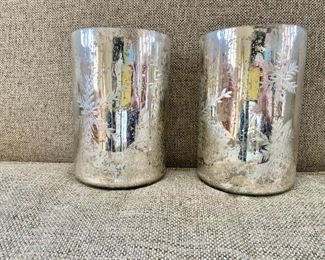"""$30 - Pair of etched glass vases - Each 7.5"""" H, 5"""" diam."""