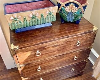 """$395 - Butler Forster Brown Campaign 3-Drawer Chest of Drawers-  - 28.5"""" H, 28"""" W, 16"""" D."""