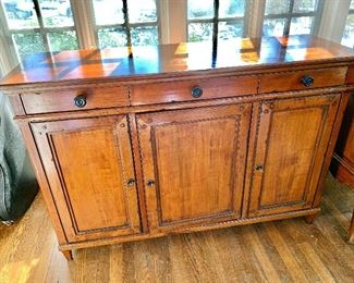"""$1,200 - Solid wood. 3 drawer server/buffet - 35.5"""" H, 53"""" W, 17"""" D. Center and left cabinets have small holes inside for electronic wires."""