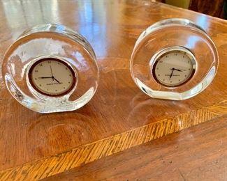 "$45 ONE LEFT - -Simon Pearce table clocks - Each 4"" diam, 1.5"" D."
