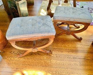 "$220 each - Vintage Century damask, tufted ottomans - Each 18"" H, 24"" W, 18"" D."
