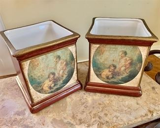 """$40 - Pair of painted containers - 5"""" H, 5"""" W, 5"""" D."""
