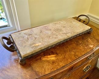 """$50 - Marble/wrought iron server/tray  - 27"""" L, 10"""" W, 4"""" H."""