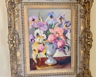 """$695 - Beatrice Leonard American 19th century  (Still life with flowers  in vase )- 32"""" H, 26"""" W (frame is 4"""" D)."""