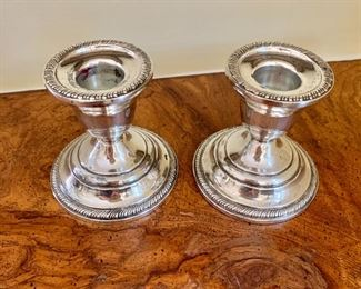 """$60 - Pair of weighted sterling candle holders - 3"""" H, 3"""" diam."""