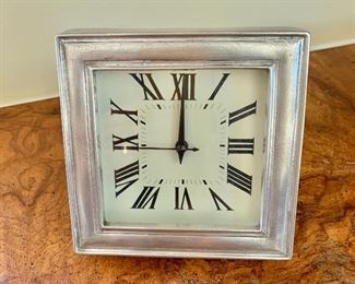 """$30 - Match, Made in Italy table clock - 4.5"""" H, 4.5"""" W, 2.5"""" D."""