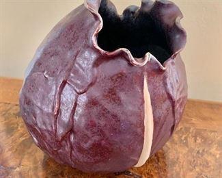 """$95 Signed cabbage art - 8.5"""" H, 8"""" diam."""