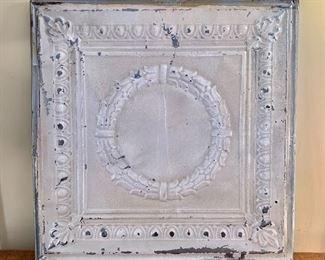 """$250 - Vintage metal ceiling tile (#1 of 2).  23"""" x 23"""""""