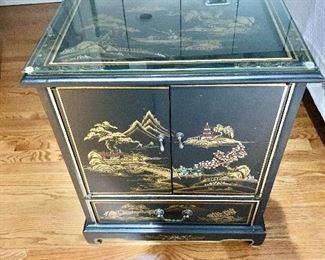 $150 - Lacquer cabinet with drawer and custom glass  -