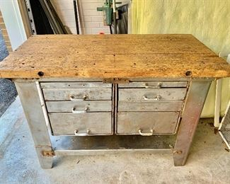 """$1,200 - Antique French sous chef table - 33.5"""" H, 47.5"""" W, 24"""" D."""