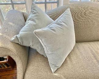 """$75 - Set of 2 down stuffed gray/blue pillows. Each 20"""" x 20"""""""