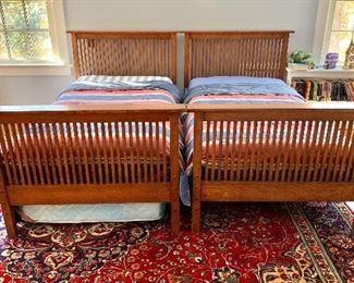 "$750 - Stickley twin beds - Each headboard 41"" H, 46"" W.  Each footboard 33"" H, 46"" W. Mattress not included."