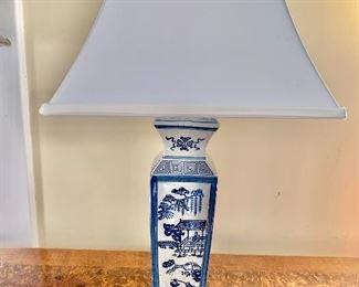 """$95 - Asian lamp - 25"""" H, base 4.5"""" x 4.5"""".  Shade: 14"""" W, 14"""" D."""