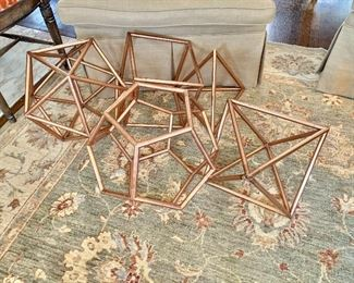 """$375 - Set of 5 Sacred geometry copper symbols - Sides range from 10.5"""" W to 18"""" W."""