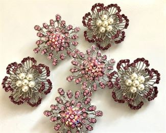 """$8 each  - Rhinestone and silver-tone pins.  Each 2""""L diam 1 pink pin and 1 purple pin available"""