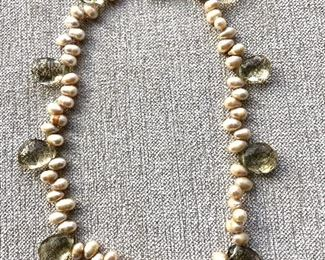 $60 Pearl and stone necklace with sterling silver clasp