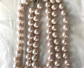 $12 each set of 3 faux slight pink pearl necklaces