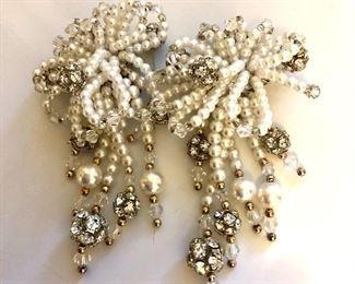"$15 Long faux pearls and rhinestone clip earrings.  3.5""L; 2""W"