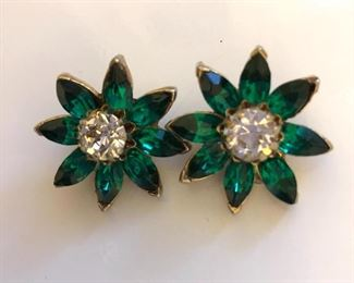 """$8 Green and white rhinestone clip earrings.  1""""diam"""