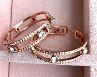 "$10 Copper color and white rhinestone pierced hoops.  1.5"" diam"