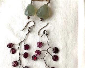 """$12 ea  greenstone (1.5""""L)AVAILABLE   purple stone (2""""L: 1""""W) pierced earrings.SOLD"""