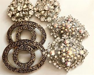 """$12 each set 3 pairs vintage shoe clips.  Big ones: 2.5""""L; 2""""W; Small: 2""""diam Brass shoe clips available rest SOLD"""