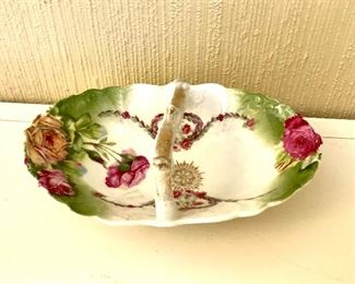 """$22 Floral dish with handle.   2.5"""" H, 6.5"""" W, 4"""" D."""