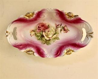 """$22 Floral dish  oval shaped.  8"""" L, 4.5"""" W, 2"""" deep."""