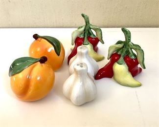 """$12 - Each set of salt and pepper shakers.  Range from 2"""" H to 3"""" H.  GARLIC AND PEPPERS ARE SOLD"""