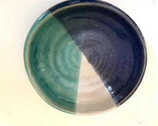 """$15 Small ceramic dish signed.   4.5"""" diam, 1.5"""" H."""