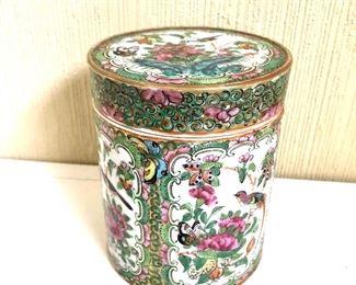 """$120  Rose medallion porcelain container.  4.5"""" H, 3.75"""" diam."""