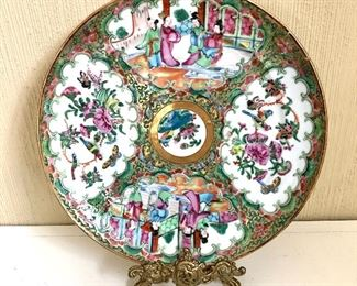 """$120 Rose Medallion plate (does not include stand).  10 """" diam."""