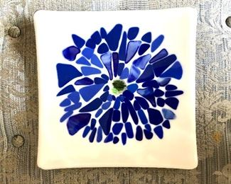 """$25 Blue and white flower square shaped dish.  8"""" x 8""""."""