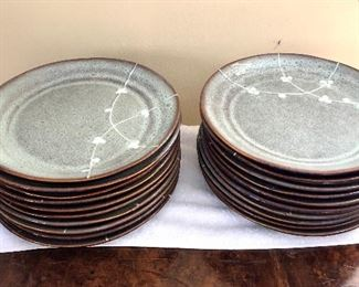 """$495 -  Stoneware set: 20 dinner plates each 10"""" diam; 15 square luncheon plates each 8"""" x 8""""; 20 square bowls each 6"""" x 6""""; and 20 mugs each 3.5"""" H, 3.25"""" diam (one chipped)."""