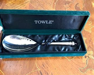 """$25 Towle large serving spoon in original box.  11"""" L."""