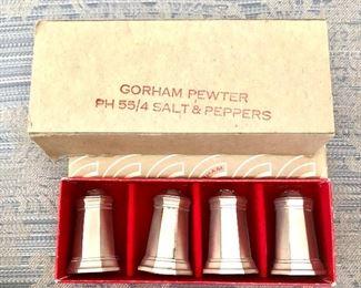 """$20 Gorham Pewter salt and pepper shakers in original box.  Each 1.5"""" H, 1 """" diam."""