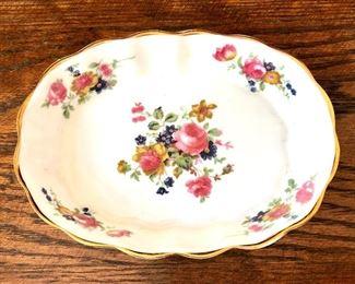 "$30 Floral scalloped edge shallow bowl.  7"" diam, 2"" H."