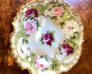 """$20  Floral plate with gold trim.   5.25"""" x 4"""", 1"""" deep."""