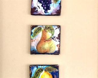"$165 - T. Palmer signed lemon, pear, grapes. Each 8"" x 8""."