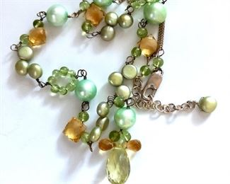 """$30 Greenstone and pearl necklace with sterling clasp. 19""""L adjustable"""