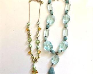 "$30 Ea.  Necklaces with drop pendants 19""L adjustable  Blue necklace SOLD"