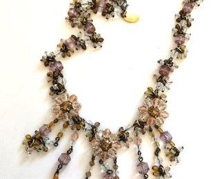 "$60 Erickson  Beamon Multi dangle ornate beaded  glass necklace.  22""L adjustable"
