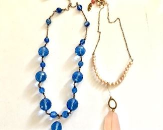 """$30 each neckaces with pendant drop and sterling clasp.  Pink: 16""""L; Blue: 19""""Lsold  adjustable"""