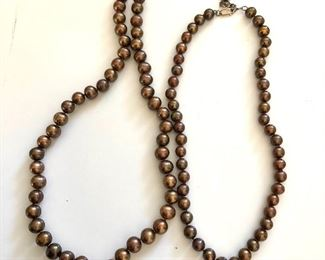 """$40 Pair brown pearl necklaces with sterling clasp.  Long: 22""""L; Small: SOLD"""