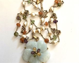 """$75 Pearl and stone necklace with a floral center.  18""""L"""