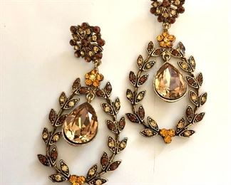 """$25 Statement topazzy earrings with center drop.  2.5""""; 1.5""""W"""