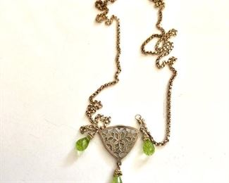 """$40 Sterling necklace with green stones.  17""""L"""